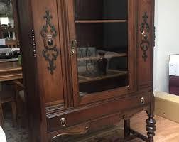 Antique German Display Cabinet Curio Cabinet Etsy