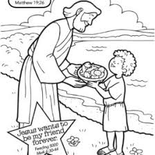 jesus feeds the multitude with fish and bread coloring page free