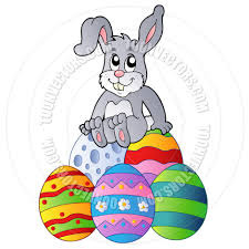 cartoon easter bunny sitting on easter eggs by clairev toon