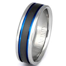 blue titanium wedding band titanium wedding band thin blue line ring custom ring