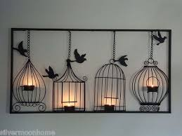 bird cage wall art tea light candle holder black metal unusual