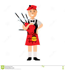 vector scottish bagpiper flat style colorful cartoon illustration