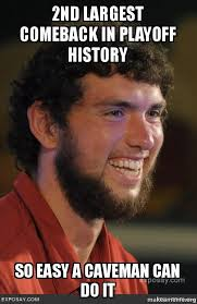 Andrew Luck Memes - 2nd largest comeback in playoff history so easy a caveman can do