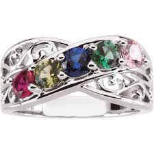 silver mothers ring 1 to 5 stones s ring