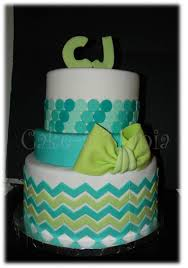 3 tier baby shower cake chevron and ombre circles adorn this cake