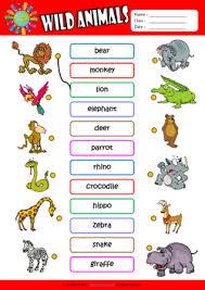 wild animals esl printable worksheets for kids 1