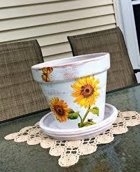 Tuscan Garden Decor Painted Flower Pot Sunflower Decoupage Planter Tuscan Garden