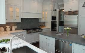 Concrete Kitchen Cabinets White Kitchen Cabinets With Concrete Countertops Transitional