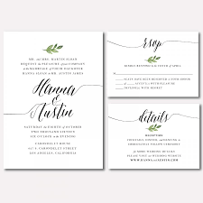 printable wedding invitation suite botanical minimalist leaf