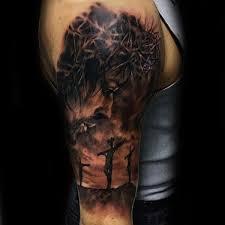 Religious Sleeve Tattoos Ideas Crucifix Mens Jesus Half Sleeve Tattoo Cross Tattoos Pinterest