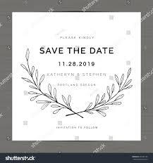elegant leaves floral wreath wedding invitation stock vector
