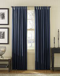 Navy Blue And White Striped Curtains by Light Blue Woven Curtain On Silver Polished Iron Rod Combination