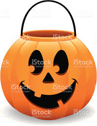 happy halloween pumpkin bucket jack o lantern vector illustration