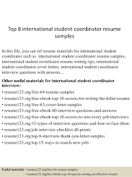 Sample Resume For Abroad by Top 8 International Student Coordinator Resume Samples 1 638 Jpg Cb U003d1434200561