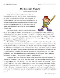 the baseball tryouts reading comprehension worksheet
