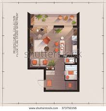 Color Floor Plan Architectural Color Floor Planstudio Apartment Stock Vector