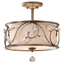 flush mount chandelier munsey park collection 2light aged brass