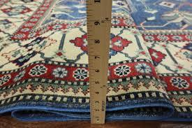 10x14 Wool Area Rugs One Of A Geometric Blue 10x14 Kazak Knotted Wool