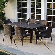 Stackable Patio Furniture Set Amazon Com Outdoor Wicker Patio Furniture New Resin 7 Pc Dining