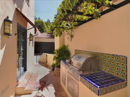 Outdoor Kitchen Grills Outdoor Kitchen Grill And Side Burner With Spanish Tile And Grape