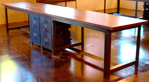 custom large two person industrial desk with built in drawers