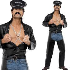 village people fancy dress costume official mens 70s disco