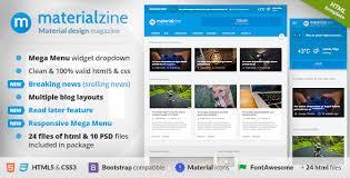 design magazine site materialzine blog magazine material design html template by