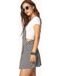 forever 21 houndstooth overall dress in natural lyst