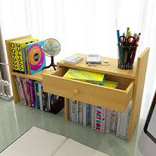 Small Desk Bookshelf Small Desktop Bookshelf Organizer Storage Rack With Drawer Wooden