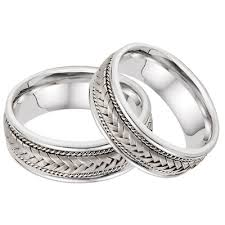 wedding band set 14k white gold 7 6mm braided wedding band set