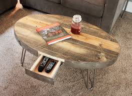 industrial coffee table with drawers reclaimed wood oval industrial table with drawer compartment coffee