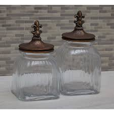 Fleur De Lis Canisters For The Kitchen by Stonebriar Collection Worn Amber Ceramic Fleur De Lis Canister Sb