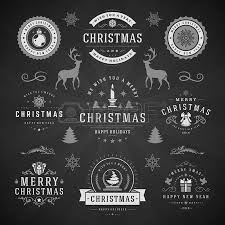 Decoration Happy New Year Merry Christmas And Happy New Year Wishes Typographic Labels