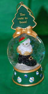 too cute white kitty cat snowglobe water ball christmas ornament
