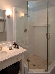 Corner Shower Stalls For Small Bathrooms by Space Saver Corner Walk In Shower With Knee Wall To Make The