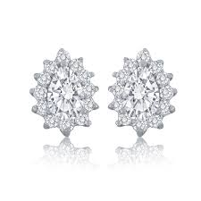 cluster stud earrings sterling silver cubic zirconia pear shape cluster stud earrings