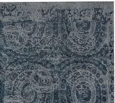 Area Rug Blue Bosworth Printed Wool Rug Blue Pottery Barn