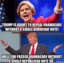 Anti Obamacare Meme - quit your whining pocahontas president trumps in charge now