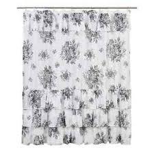 White And Black Shower Curtains Josephine Black Shower Curtain Toile Black White Floral Ruffle
