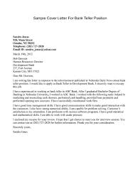 Resume And Cover Letter Examples by Bank Teller Cover Letter Sample Sample Cover Letters