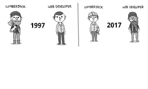 Web Developer Meme - lumber jack web developer 1997 web developer lumberjack 2017