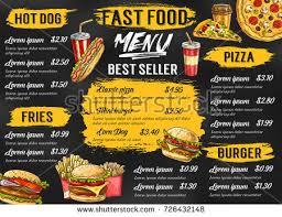 fast food cuisine fast food menu template fastfood restaurant เวกเตอร สต อก 726432148