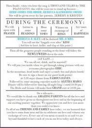 typical wedding program sle wedding reception program ceremony wedding