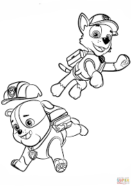 paw patrol rubble and rocky coloring page free printable