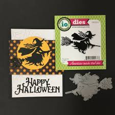 flying witch halloween flying witch metal die cut impression obsession dies die229 i