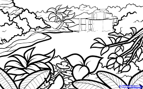 drawing landscapes step by step how to draw a lagoon step by step