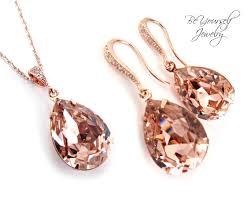 swarovski gold necklace crystals images Rose gold bridal earrings necklace set swarovski crystal vintage jpg