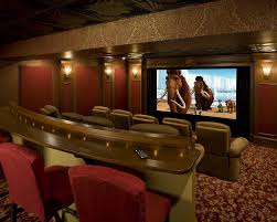 Home Theatre Sconces English Decor Ideas Home Theater Traditional With Red Wall Panels