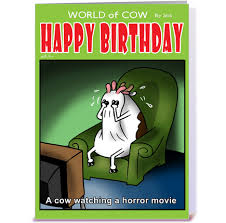 cow greeting cards a cow a horror bd card greeting card by stiktoonz