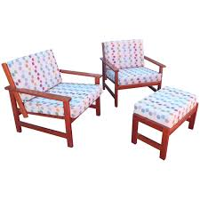 Armchairs And Ottomans Charles Webb Pair Of Cherry Lounge Chairs And Ottoman For Sale At